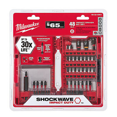 IMPACT DRILL BIT SET Milwaukee Shockwave Driver Tool Hex Drilling Screw 48 PIECE