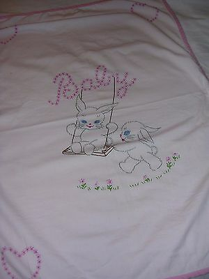 """CUTE 1950's Embroidered Pink Baby Blanket Bunny Rabbits 33""""x 23"""""""