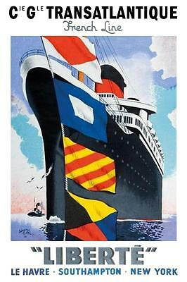 S.S. Liberte French Line Poster  12 x 18
