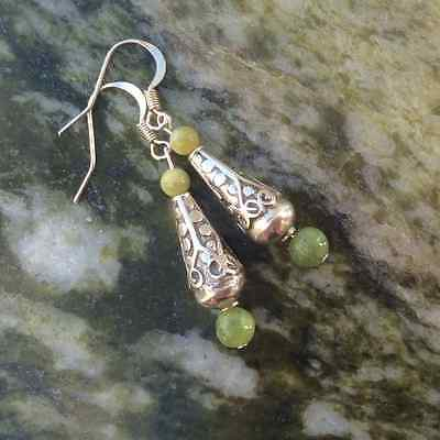 Sterling silver Connemara marble drop earrings.Quality Antique style Irish