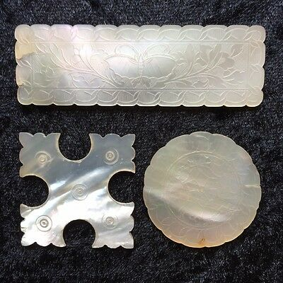 19th Century Mother of Pearl Gaming Counters Three Tokens