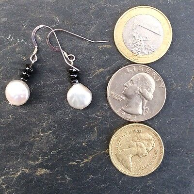 Fresh water pearls  gemstone hematite small drop earrings. Made in Ireland boxed