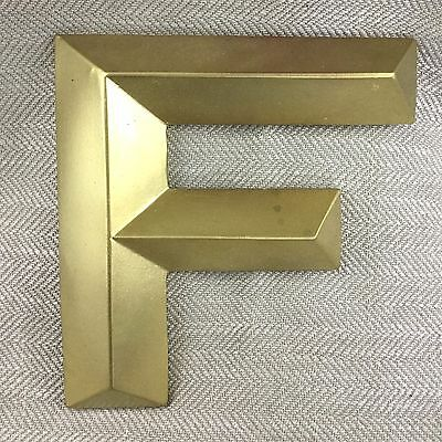 Vintage Shop Letter F Large Old Gold Plaster Ceramic 3D Capital Sign Reclaimed