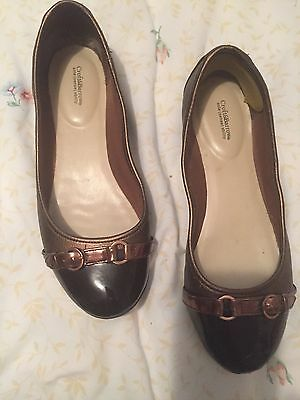 8w Women's Pewter/ Brown Flat Shoes