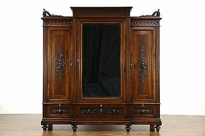 Italian Walnut Antique 1900 Armoire, Wardrobe or Closet, Carved Angels
