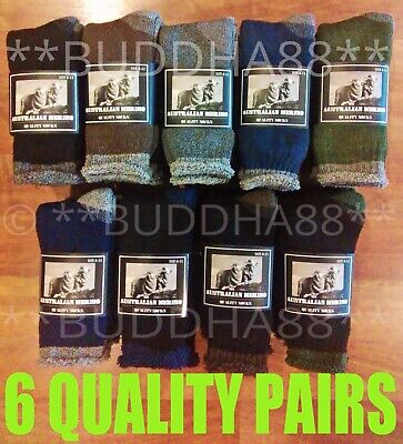 6-Pairs Heavy Duty Australian Merino Extra Thick Wool Work Hiking Socks 6-10