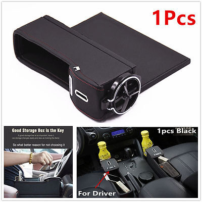Car Seat Catcher Gap Filler PU Storage Box Coin Collector Cup Holder For Driver