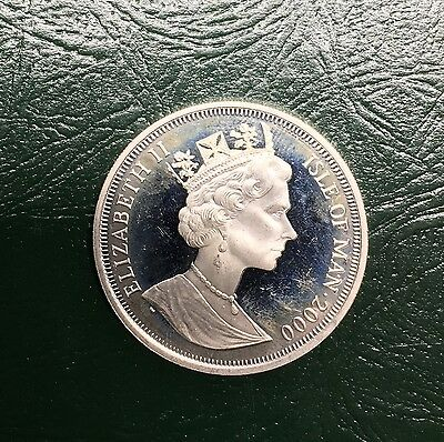 2000 Isle of Man Silver 1 One Crown Proof Millennium 925  Sterling SILVER