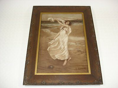 Erotic Victorian Lithograph of Lady on Beach -  M.Cormack