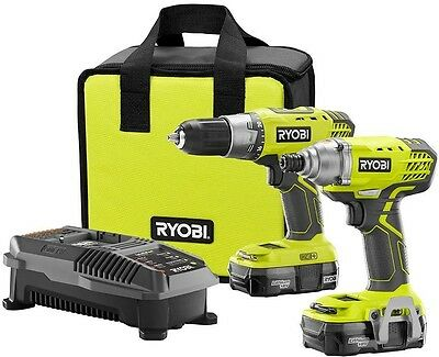 Compact Combo Cordless Lithium Ion Power Tool 18V Drill and Impact Driver Kit