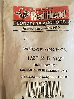 NEW SEALED Red Head 11019 Concrete Wedge Anchor 1/2'' x 5 -1/2''