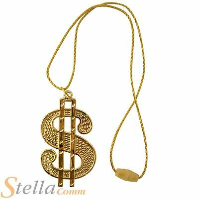 Gold Dollar Necklace & Chain Rapper Gangster Fancy Dress Costume Accessory
