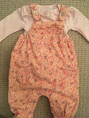 Next Baby Girls Outfit Romper Dungarees Size 0-3 Months