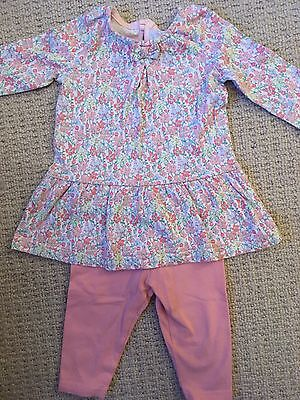 Next Girls Baby Outfit 0-3 Months Dress With Leggings