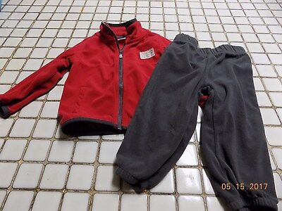 Baby Boy Carter's Long Sleeve  Red And Gray  Outfit Size 18 Months Euc