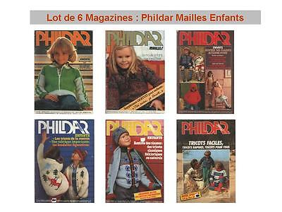 Lot 6 Magazines Catalogue : Phildar Mailles Enfants No 43 47 62 67 84 TRICOT