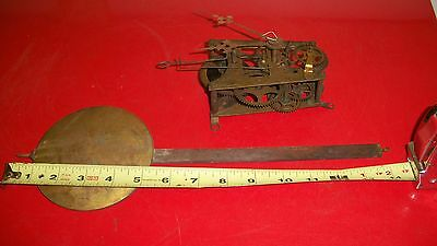 8 Day Store Regulator Movement With Pendulum For Parts Or Restoration