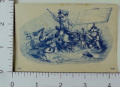 Victorian Trade Card Fairies/Pixies Riding Frog Hunting Fly Insect Spear F68