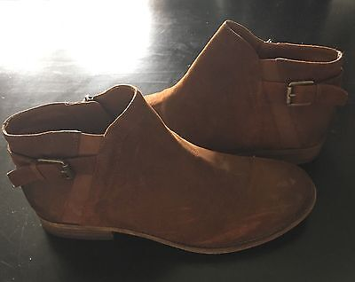 Franco Sarto Tan Brown Suede Distressed Leather Kennedy Bootie Women's SZ 9