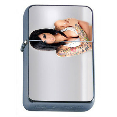Tattoo Pin Up Girls D21 Windproof Dual Flame Torch Lighter Refillable