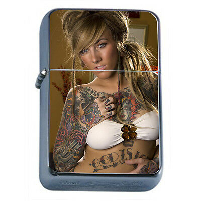 Tattoo Pin Up Girls D24 Windproof Dual Flame Torch Lighter Refillable