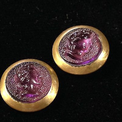 2 Victorian Jewel Buttons Set Purple Glass Cameo In Brass Metal Pad Back. 1/2""