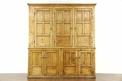 "Irish Pine Antique 1850's Country Pine Primitive Cabinet 89"" Pantry Cupboard"