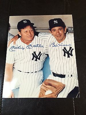 Mickey Mantle & Billy Martin Signed 5X7 Photo New York Yankees Shop At Home Coa