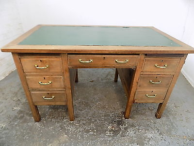 desk,drawers,home,office,writing,green top,6 drawer,vintage,1930's,twin pedestal