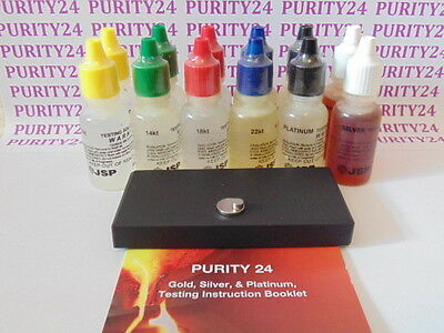 Gold, Silver & Platinum Testing Kit 12 bottles, Test Acid, Test Stone, Magnets
