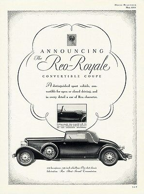 REO ROYALE Convertible Coupe Car Auto Ad 1931 - 125 hp