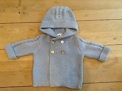Jacadi Boys Waffle/cable Knit Hooded Jacket Age 6 Months (French Designer)