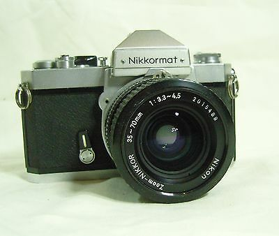 Nikon Nikkormat FT2 camera with a Nikon Nikkor 35-70mm 1:3.3-4.5 lens