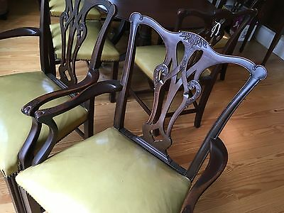 BEAUTIFUL1940s MAHOGANY CHIPPENDALE SET OF 8 CHAIRS ONLY - 6 SIDE +  2 ARMCHAIRS