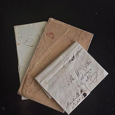 US Stamps Lot of (3) Early Stampless Covers & letters Great US History!! -17