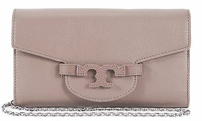 TORY BURCH Gray Pebbled Leather Chain Strap Shoulder Bag