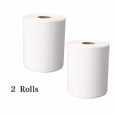 """2 Rolls Thermal Paper Barcode Print Paper Label 4""""x6"""" 250pcs Adhesive Sticker"""