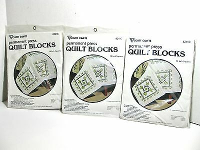 """Vogart Flower Patch Stamped Quilt Blocks #8241C 14""""- 36 total -  2 NEW - 1 USED"""