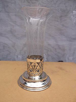 Silver Plate & Glass Vase