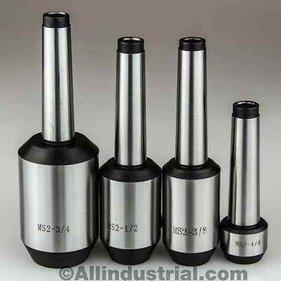 "4 Pc Mt2 Morse Taper End Mill Holder Set 1/4, 3/8, 1/2, 3/4"" 3/8-16 Drawbar"