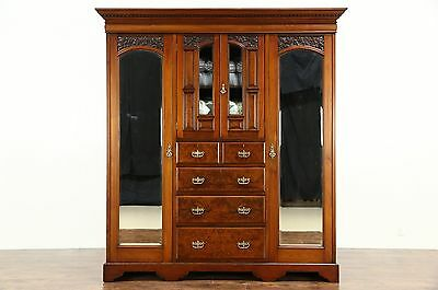English 1895 Antique Carved Armoire, Wardrobe or Closet, Beveled Mirrors