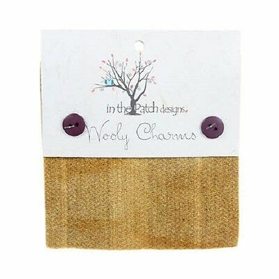 """Wood Beige Hand Dyed Wool - 5ea 5""""x5"""" Wooly Charms WC54726"""