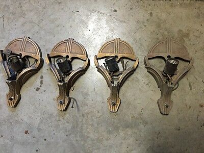 ** Set (4) Matching Vintage Art Deco Slip Shade  Sconce Wall Fixtures **