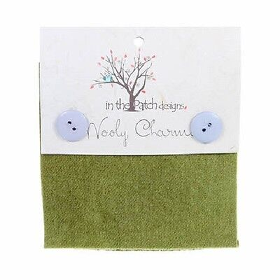 """Moss Green Hand Dyed Wool - 5ea 5""""x5"""" Wooly Charms WC4702"""
