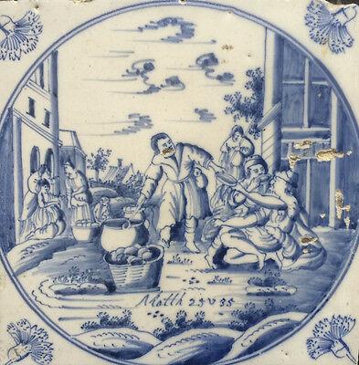 Antique Dutch Delft Tile Biblical Scene 18TH C. ''ANJER TILE''