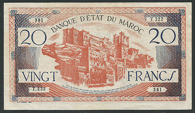 Morocco ND (1943) P-39 AU+ 20 Francs