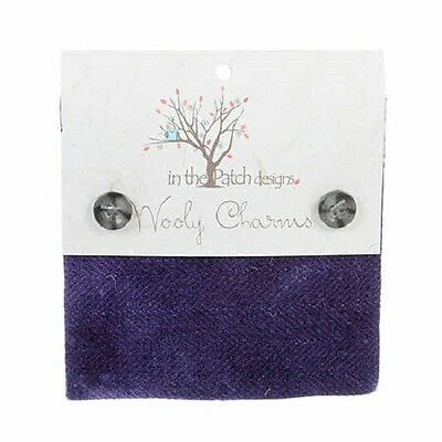 """Blue Violet Hand Dyed Wool - 5ea 5""""x5"""" Wooly Charms WC4608"""