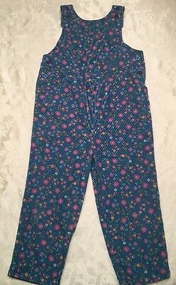 Lands End GIRLS Overalls SIZE 5 BLUE Sleeveless FLORAL Ditsy Needle Cotton