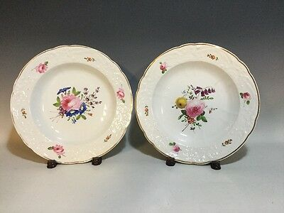 2 Early 18Th Century Royal Crown Derby Hand Painted Floral Soup Plate/bowls