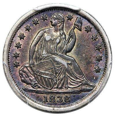 1838 Seated Half Dime No Drapery, Large Stars PCGS AU-55 Great Color!!!